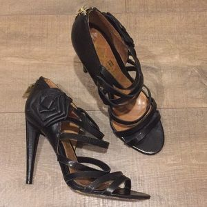 L.A.M.B Black strappy black rose leather heels 7.5